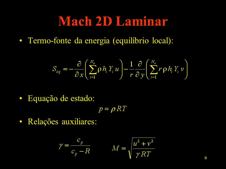 9 Mach 2D Laminar Termo-fonte da energia (equilíbrio local): Equação de estado: Relações auxiliares: