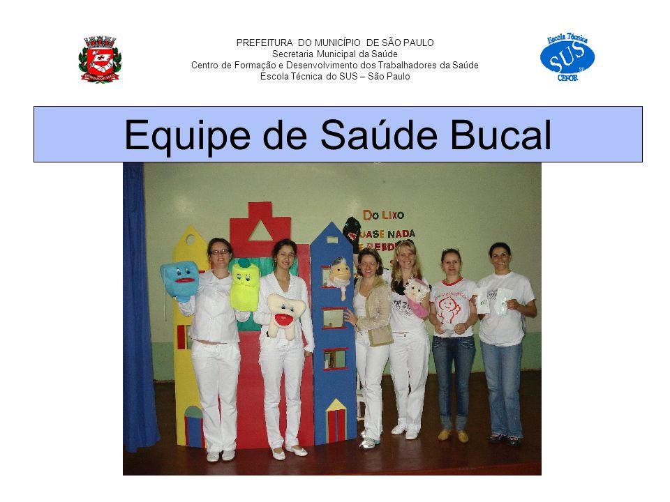 PREFEITURA DO MUNICÍPIO DE SÃO PAULO Secretaria Municipal da Saúde Centro de Formação e Desenvolvimento dos Trabalhadores da Saúde Escola Técnica do SUS – São Paulo Equipe de Saúde Bucal