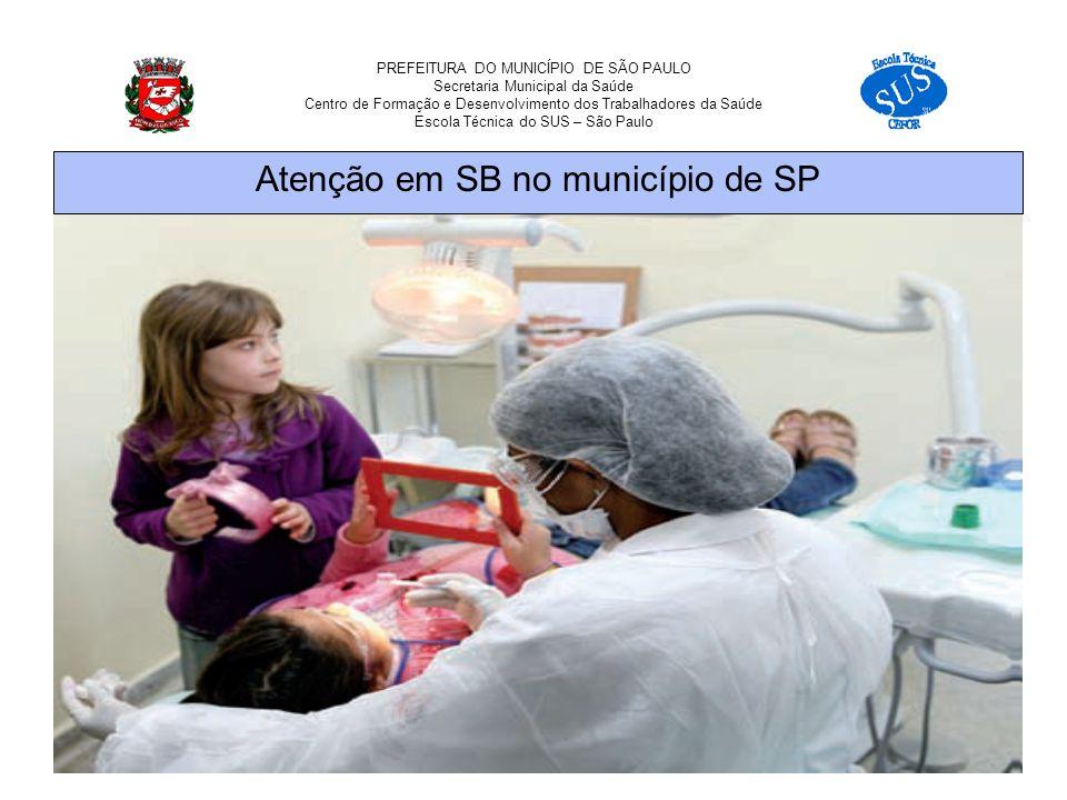 PREFEITURA DO MUNICÍPIO DE SÃO PAULO Secretaria Municipal da Saúde Centro de Formação e Desenvolvimento dos Trabalhadores da Saúde Escola Técnica do SUS – São Paulo Atenção em SB no município de SP