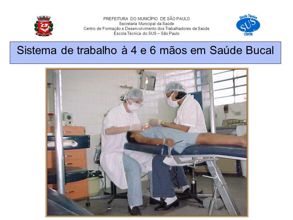 PREFEITURA DO MUNICÍPIO DE SÃO PAULO Secretaria Municipal da Saúde Centro de Formação e Desenvolvimento dos Trabalhadores da Saúde Escola Técnica do SUS – São Paulo Sistema de trabalho à 4 e 6 mãos em Saúde Bucal