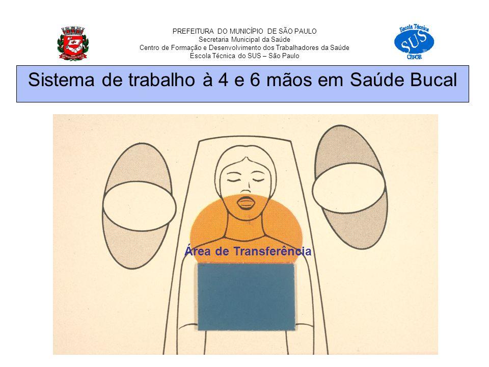PREFEITURA DO MUNICÍPIO DE SÃO PAULO Secretaria Municipal da Saúde Centro de Formação e Desenvolvimento dos Trabalhadores da Saúde Escola Técnica do SUS – São Paulo Área de Transferência Sistema de trabalho à 4 e 6 mãos em Saúde Bucal