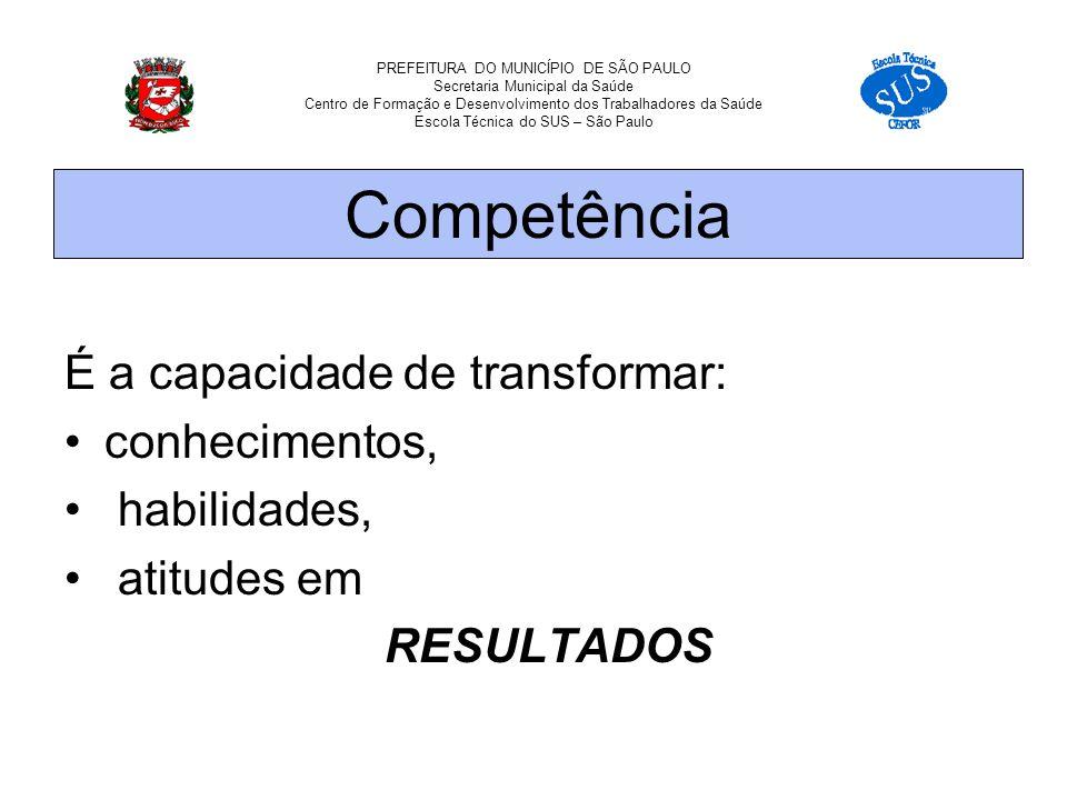 PREFEITURA DO MUNICÍPIO DE SÃO PAULO Secretaria Municipal da Saúde Centro de Formação e Desenvolvimento dos Trabalhadores da Saúde Escola Técnica do SUS – São Paulo É a capacidade de transformar: conhecimentos, habilidades, atitudes em RESULTADOS Competência
