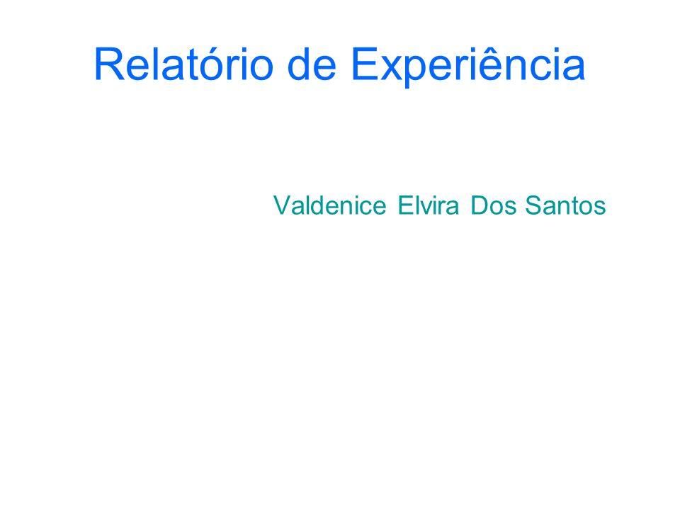 Relatório de Experiência Valdenice Elvira Dos Santos