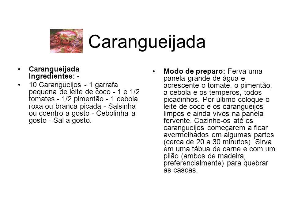 Carangueijada Carangueijada Ingredientes: - 10 Carangueijos - 1 garrafa pequena de leite de coco - 1 e 1/2 tomates - 1/2 pimentão - 1 cebola roxa ou branca picada - Salsinha ou coentro a gosto - Cebolinha a gosto - Sal a gosto.