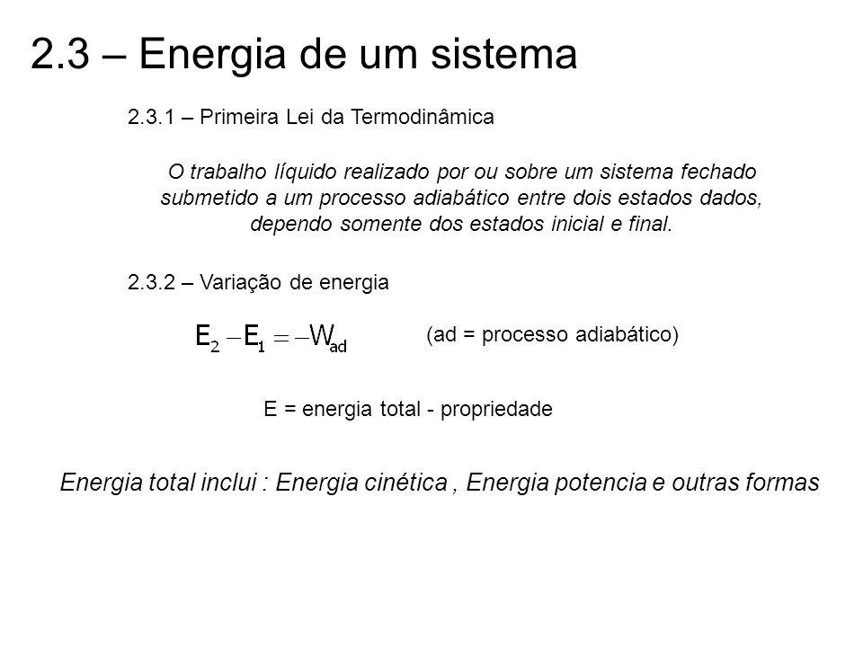 2.3 – Energia de um sistema 2.3.1 – Primeira Lei da Termodinâmica O trabalho líquido realizado por ou sobre um sistema fechado submetido a um processo