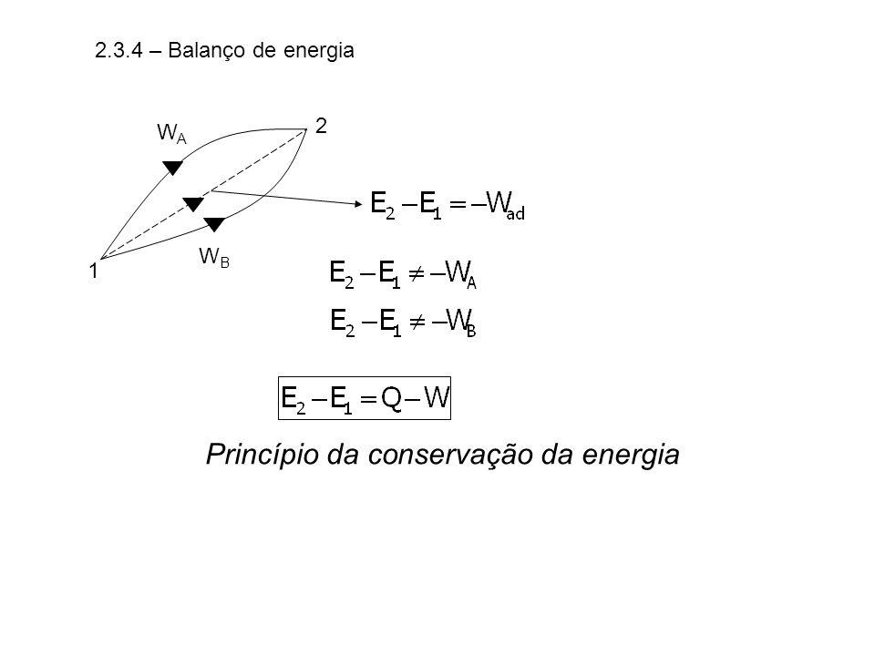 2.3.4 – Balanço de energia 1 2 WAWA WBWB Princípio da conservação da energia
