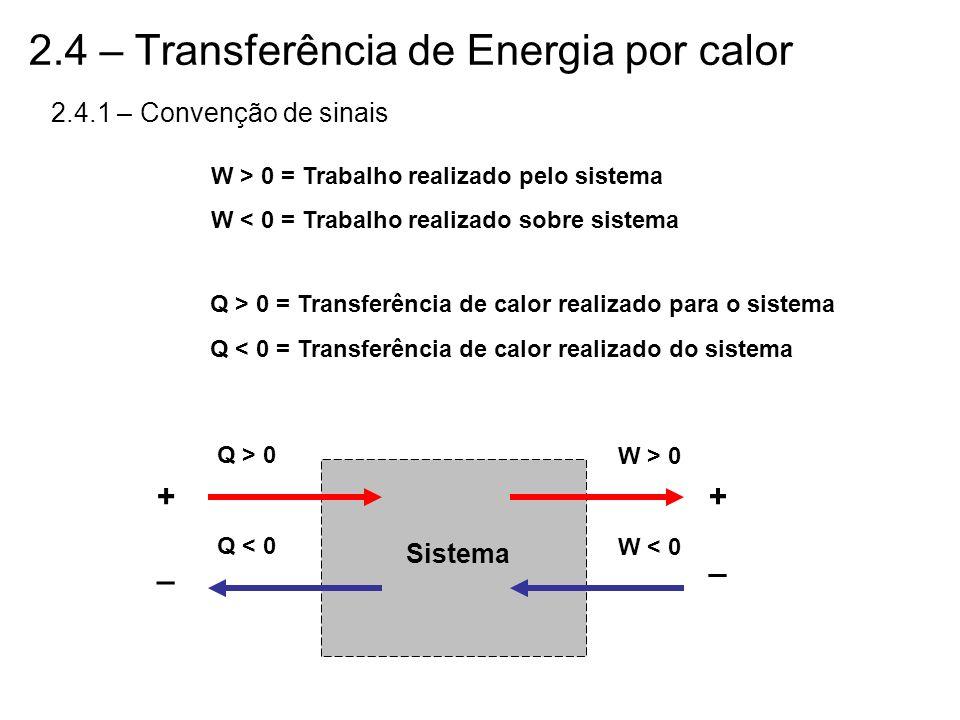 2.4 – Transferência de Energia por calor 2.4.1 – Convenção de sinais W > 0 = Trabalho realizado pelo sistema W < 0 = Trabalho realizado sobre sistema
