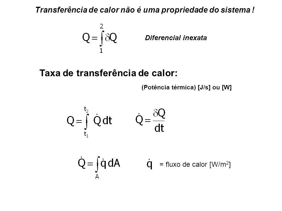 Diferencial inexata Transferência de calor não é uma propriedade do sistema ! Taxa de transferência de calor: (Potência térmica) [J/s] ou [W] = fluxo