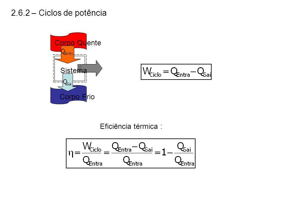 2.6.2 – Ciclos de potência Corpo Quente Corpo Frio Sistema Eficiência térmica :