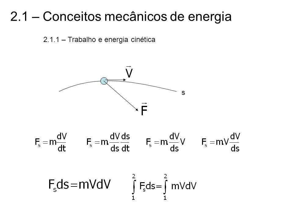 2.1 – Conceitos mecânicos de energia 2.1.1 – Trabalho e energia cinética s