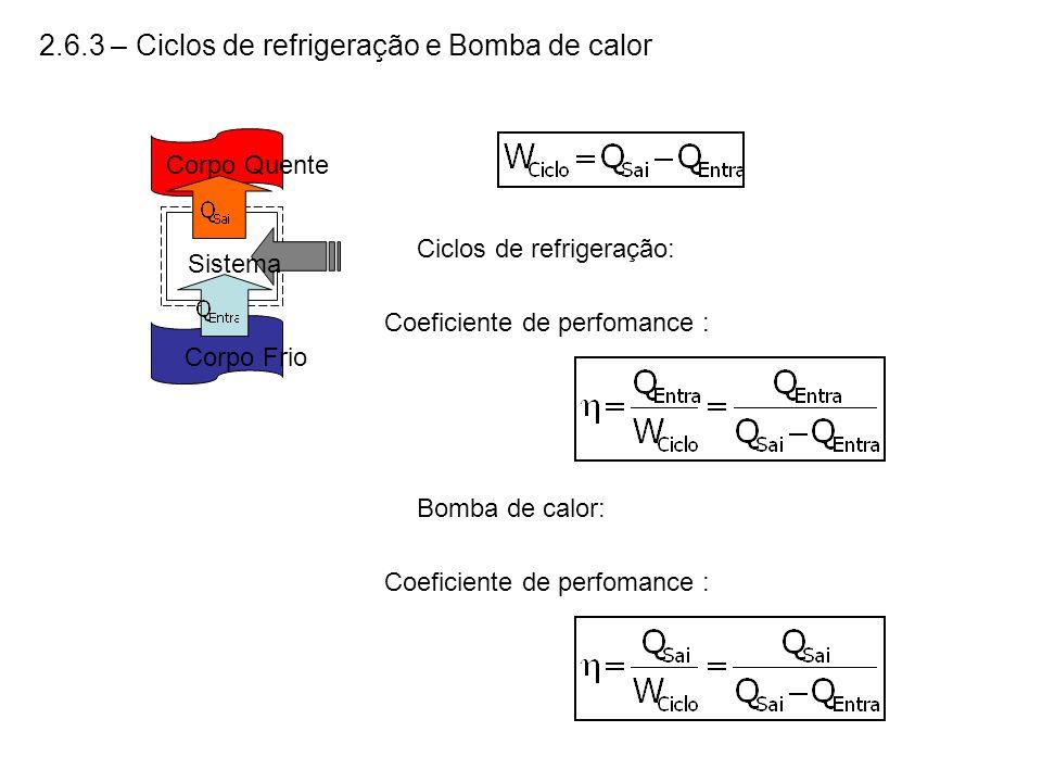 2.6.3 – Ciclos de refrigeração e Bomba de calor Corpo Quente Corpo Frio Sistema Coeficiente de perfomance : Ciclos de refrigeração: Coeficiente de per