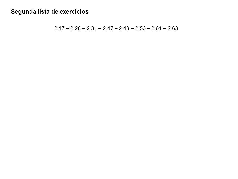 Segunda lista de exercícios 2.17 – 2.28 – 2.31 – 2.47 – 2.48 – 2.53 – 2.61 – 2.63