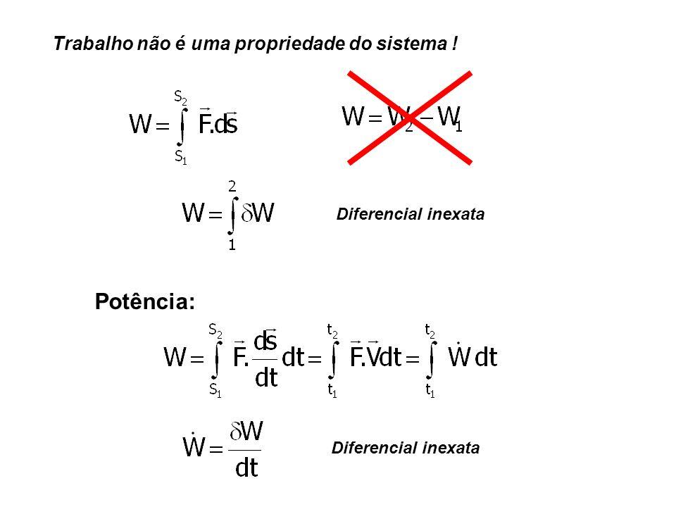 Trabalho não é uma propriedade do sistema ! Diferencial inexata Potência: Diferencial inexata