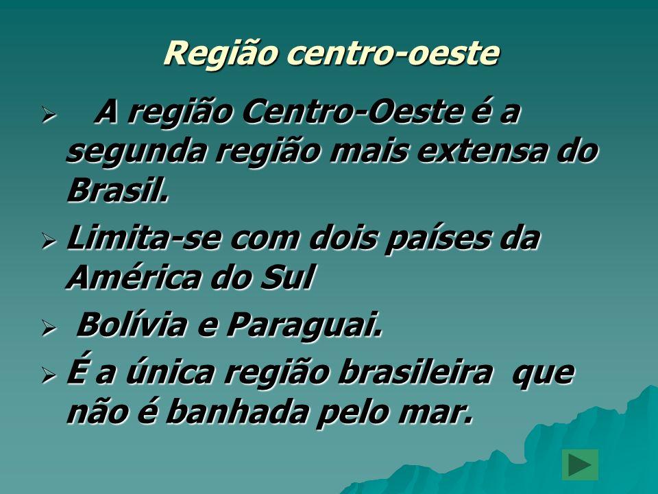A região Centro-Oeste é a segunda região mais extensa do Brasil. A região Centro-Oeste é a segunda região mais extensa do Brasil. Limita-se com dois p
