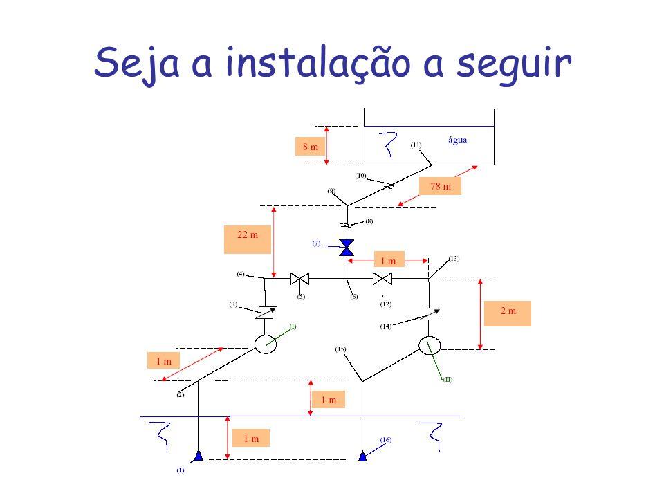 (1) e (16) - válvulas de pé com crivo (2), (4), (9), (13) e (15) - joelhos de 90 0 (3) e (14) - válvulas de retenção tipo pesadas (5) e (12) - válvulas gavetas 6) - tê (7) - válvula globo (8) e (10) - representação de corte no desenho da tubulação (11) - entrada normal (I) e (II) - bombas centrífugas radiais