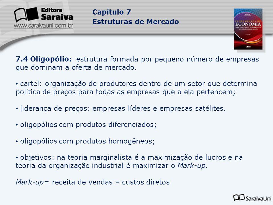 Capítulo 7 Estruturas de Mercado 7.4 Oligopólio: estrutura formada por pequeno número de empresas que dominam a oferta de mercado.