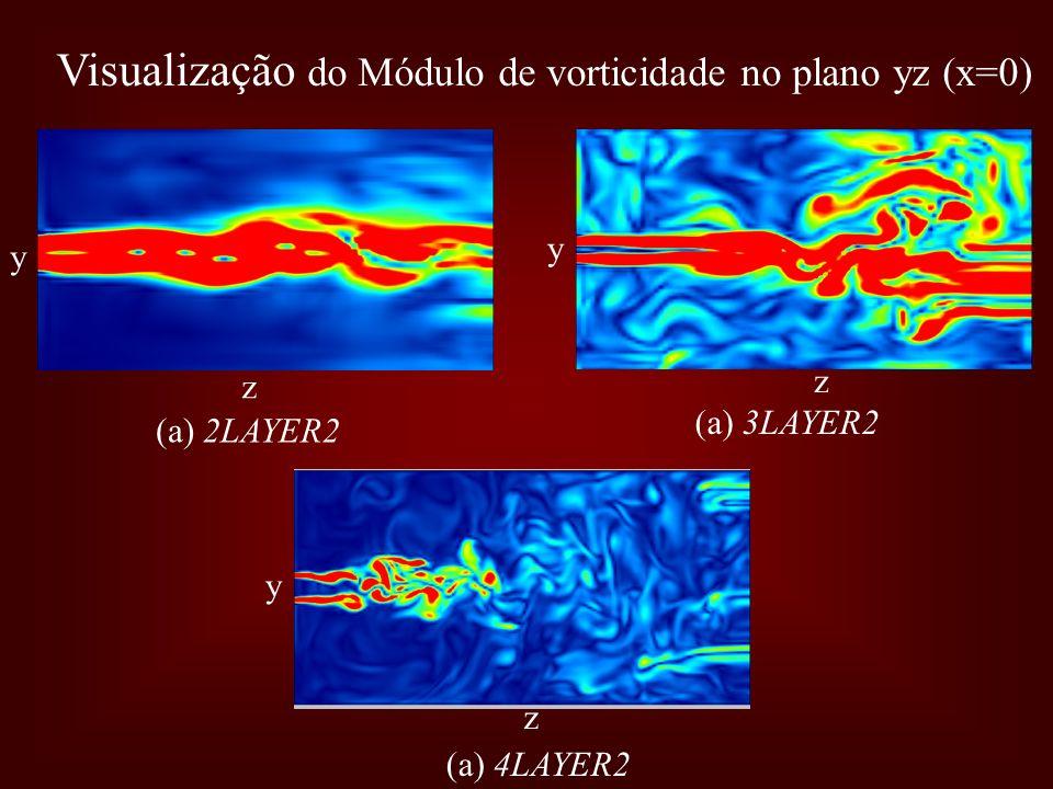 Visualização do Módulo de vorticidade no plano yz (x=0) z y z y z y (a) 2LAYER2 (a) 3LAYER2 (a) 4LAYER2