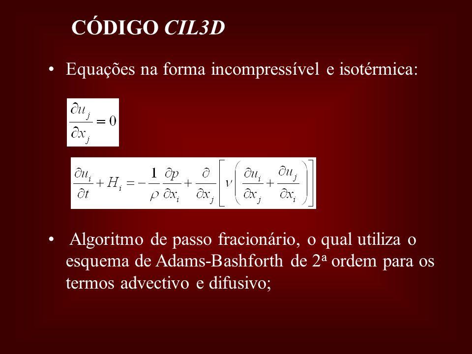 CÓDIGO CIL3D Equações na forma incompressível e isotérmica: Algoritmo de passo fracionário, o qual utiliza o esquema de Adams-Bashforth de 2 a ordem p