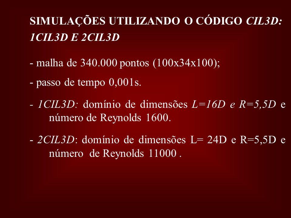 SIMULAÇÕES UTILIZANDO O CÓDIGO CIL3D: 1CIL3D E 2CIL3D - malha de 340.000 pontos (100x34x100); - passo de tempo 0,001s. - 1CIL3D: domínio de dimensões