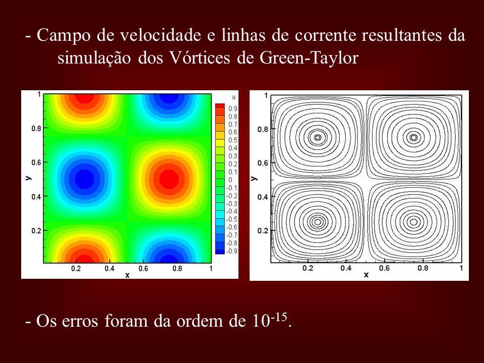 - Campo de velocidade e linhas de corrente resultantes da simulação dos Vórtices de Green-Taylor - Os erros foram da ordem de 10 -15.