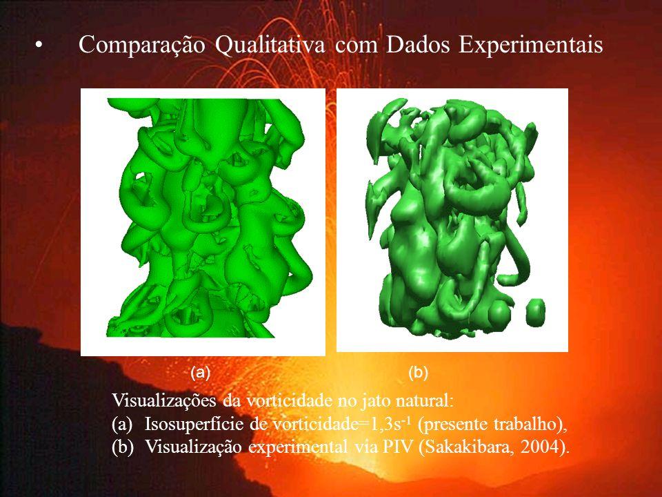 Comparação Qualitativa com Dados Experimentais (a)(b) Visualizações da vorticidade no jato natural: (a)Isosuperfície de vorticidade=1,3s -1 (presente