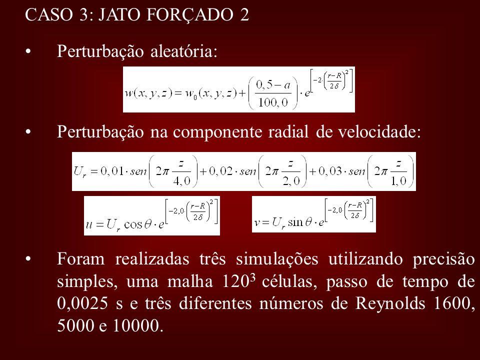CASO 3: JATO FORÇADO 2 Perturbação aleatória: Perturbação na componente radial de velocidade: Foram realizadas três simulações utilizando precisão sim