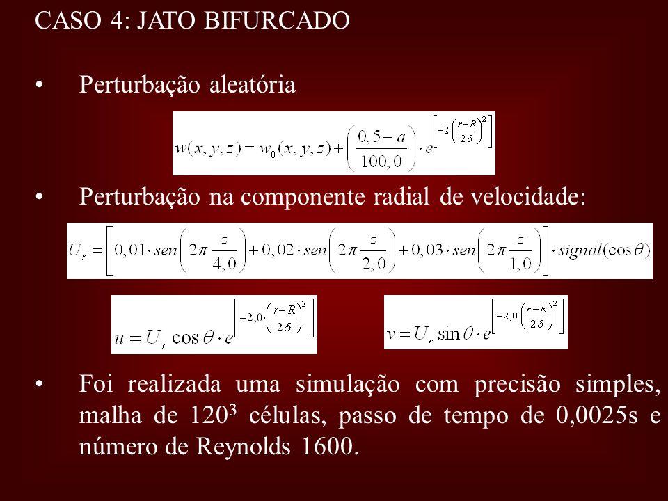 CASO 4: JATO BIFURCADO Perturbação aleatória Perturbação na componente radial de velocidade: Foi realizada uma simulação com precisão simples, malha d