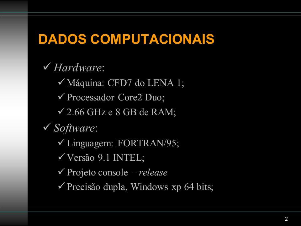 2 DADOS COMPUTACIONAIS Hardware: Máquina: CFD7 do LENA 1; Processador Core2 Duo; 2.66 GHz e 8 GB de RAM; Software: Linguagem: FORTRAN/95; Versão 9.1 I