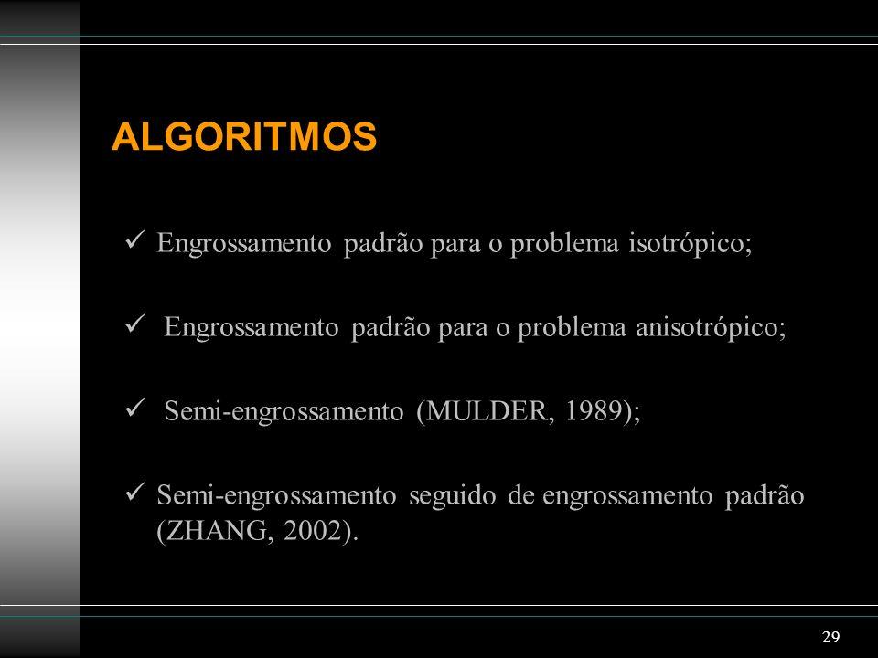 29 ALGORITMOS Engrossamento padrão para o problema isotrópico; Engrossamento padrão para o problema anisotrópico; Semi-engrossamento (MULDER, 1989); S