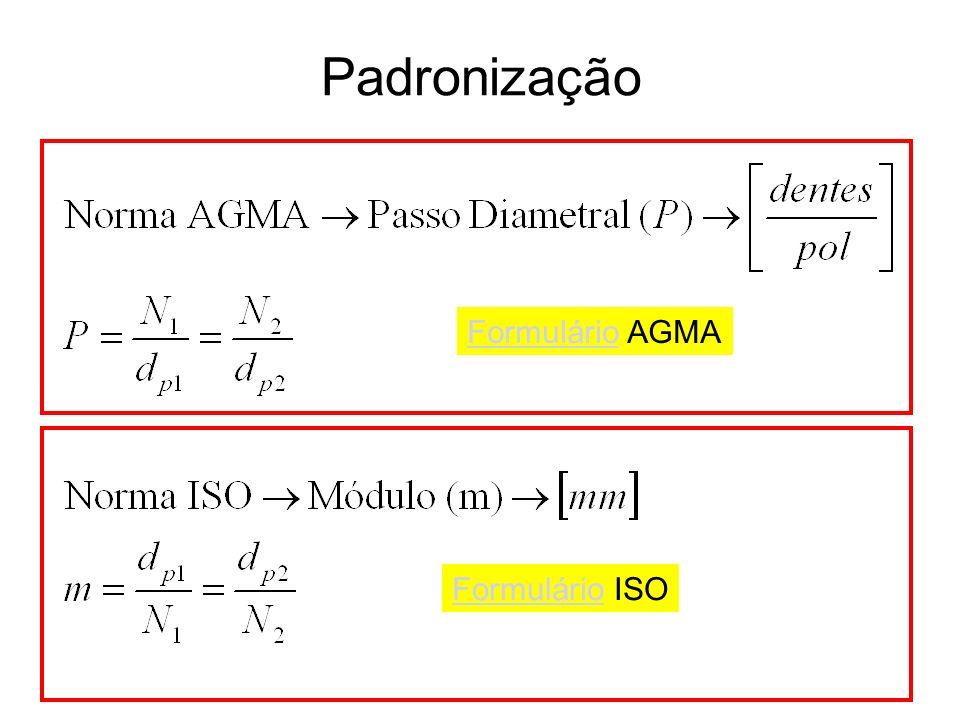 Padronização FormulárioFormulário AGMA FormulárioFormulário ISO