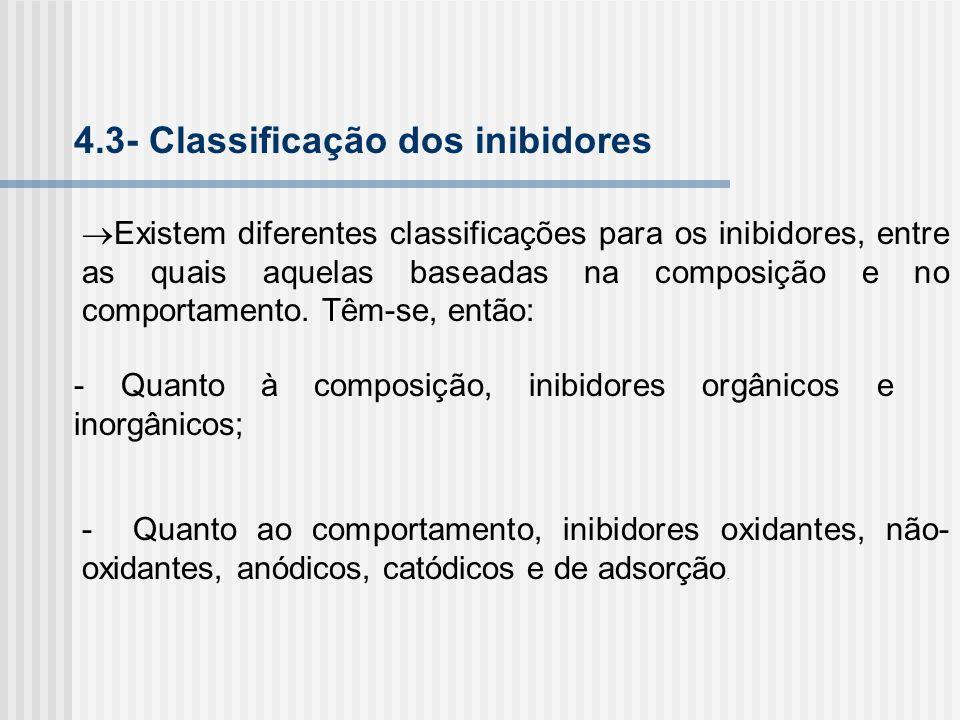 4.3- Classificação dos inibidores Existem diferentes classificações para os inibidores, entre as quais aquelas baseadas na composição e no comportamen