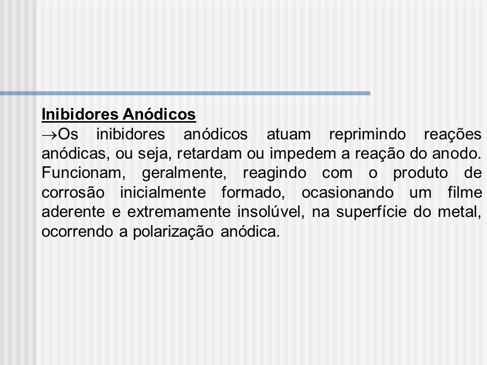 Inibidores Anódicos Os inibidores anódicos atuam reprimindo reações anódicas, ou seja, retardam ou impedem a reação do anodo. Funcionam, geralmente, r