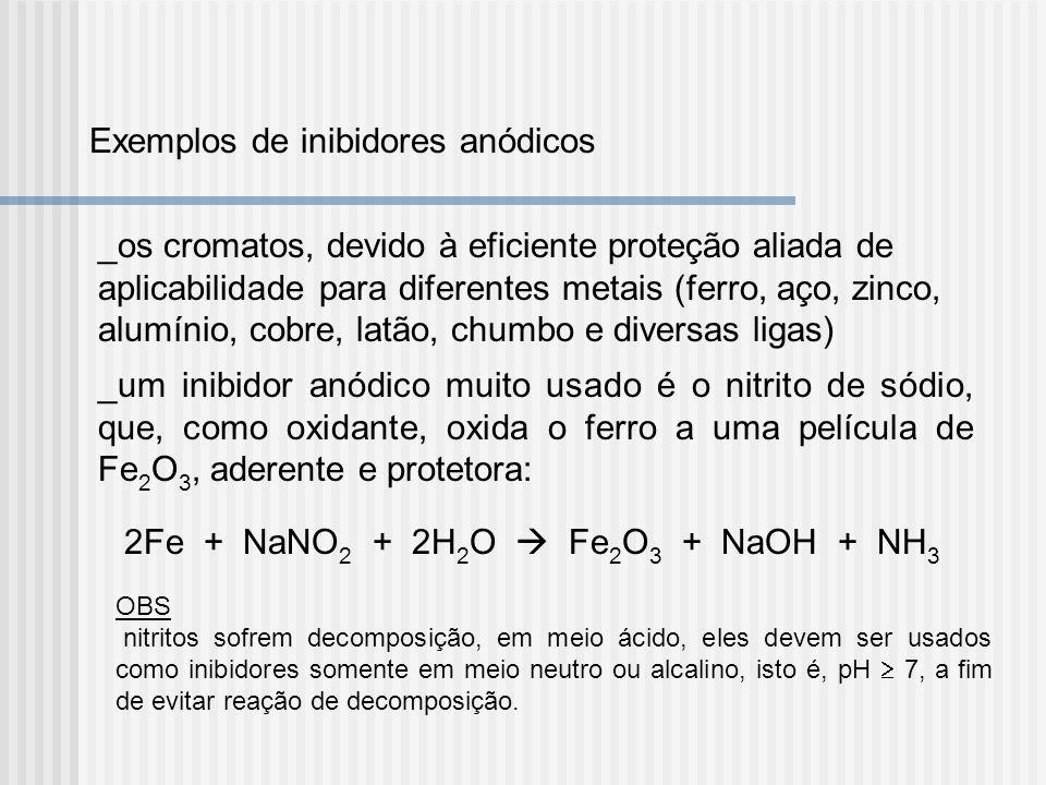 Exemplos de inibidores anódicos _os cromatos, devido à eficiente proteção aliada de aplicabilidade para diferentes metais (ferro, aço, zinco, alumínio