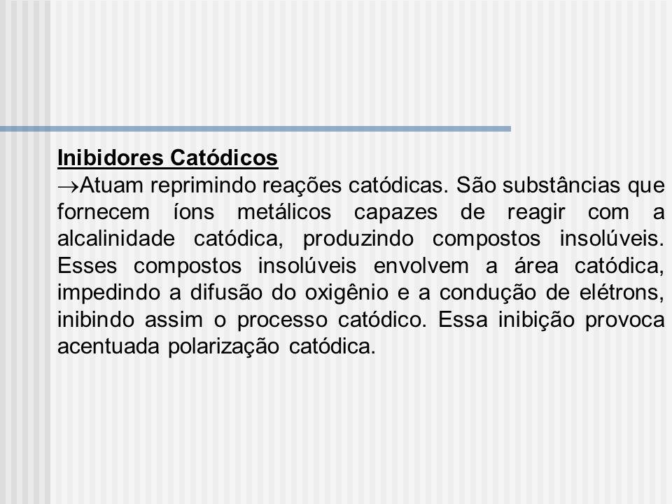 Inibidores Catódicos Atuam reprimindo reações catódicas. São substâncias que fornecem íons metálicos capazes de reagir com a alcalinidade catódica, pr
