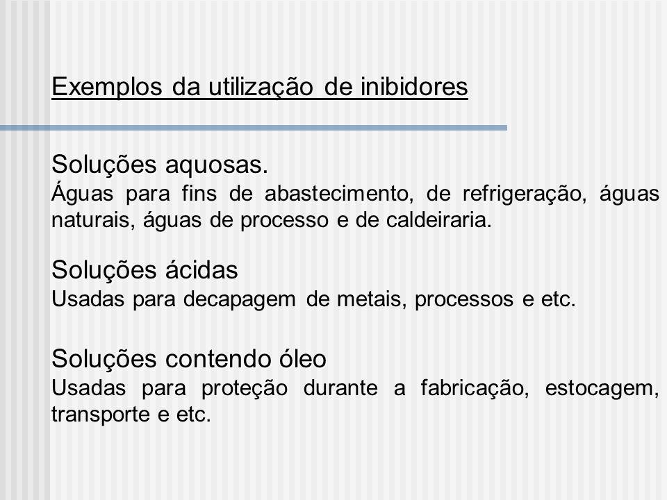Exemplos da utilização de inibidores Soluções aquosas. Águas para fins de abastecimento, de refrigeração, águas naturais, águas de processo e de calde