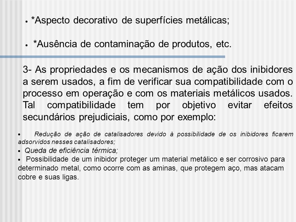 *Aspecto decorativo de superfícies metálicas; *Ausência de contaminação de produtos, etc. 3- As propriedades e os mecanismos de ação dos inibidores a