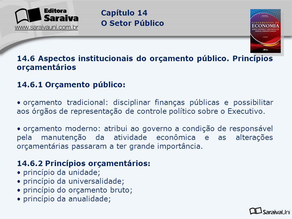 Capítulo 14 O Setor Público 14.6 Aspectos institucionais do orçamento público. Princípios orçamentários 14.6.1 Orçamento público: orçamento tradiciona