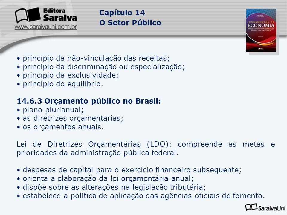 Capítulo 14 O Setor Público princípio da não-vinculação das receitas; princípio da discriminação ou especialização; princípio da exclusividade; princí