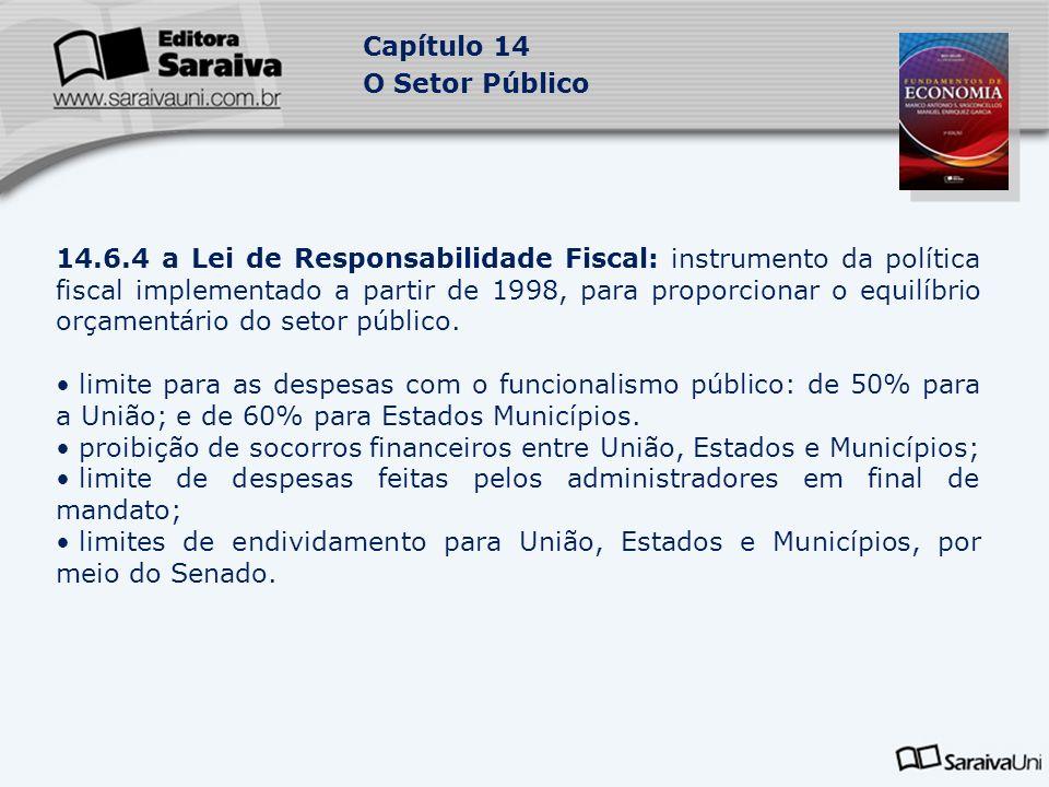Capítulo 14 O Setor Público 14.6.4 a Lei de Responsabilidade Fiscal: instrumento da política fiscal implementado a partir de 1998, para proporcionar o