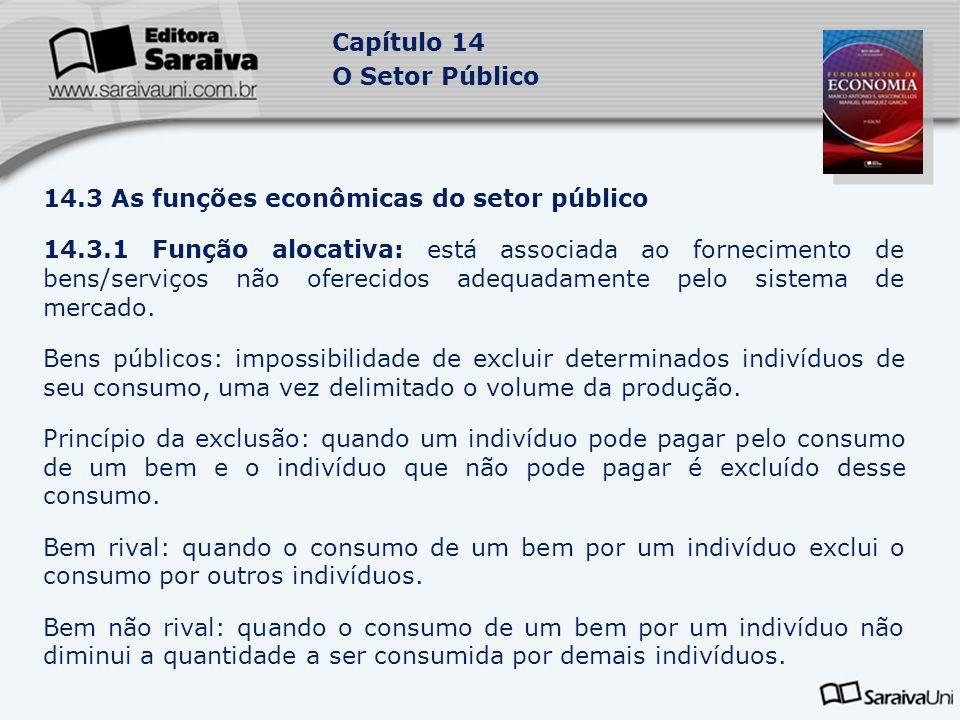 Capítulo 14 O Setor Público 14.3 As funções econômicas do setor público 14.3.1 Função alocativa: está associada ao fornecimento de bens/serviços não o