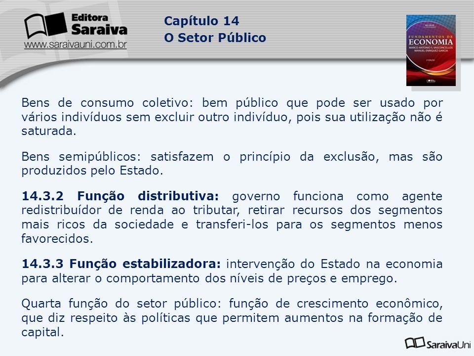 Capítulo 14 O Setor Público Bens de consumo coletivo: bem público que pode ser usado por vários indivíduos sem excluir outro indivíduo, pois sua utili