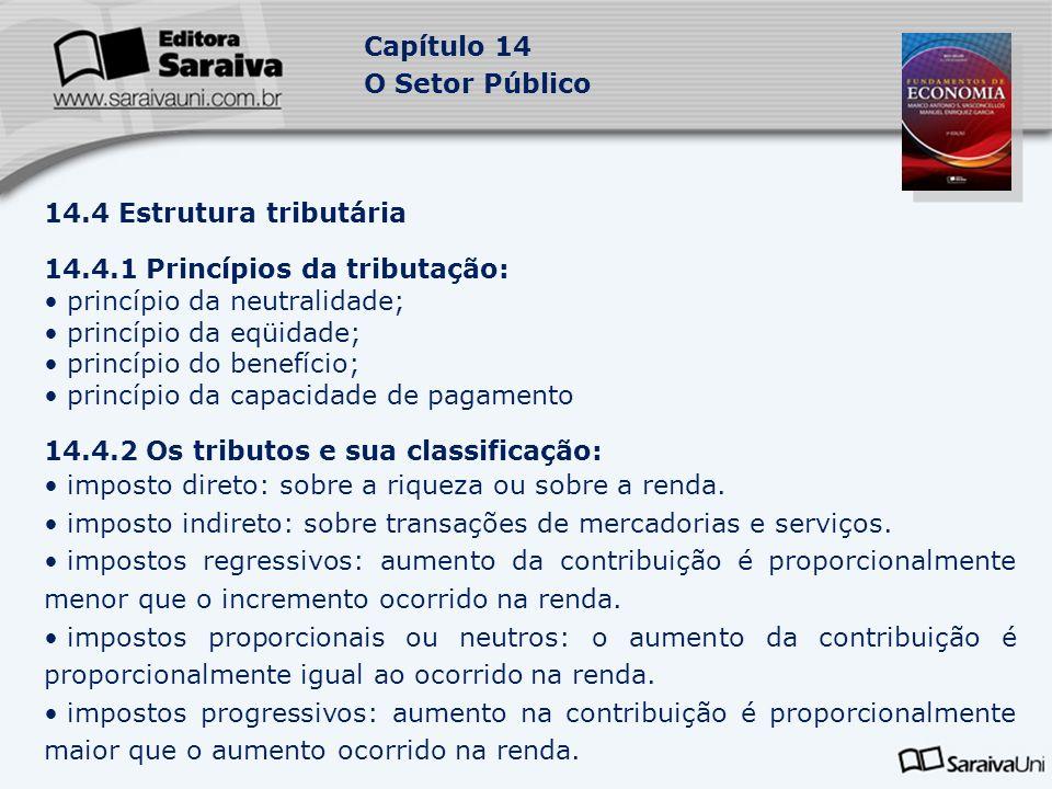 Capítulo 14 O Setor Público 14.4 Estrutura tributária 14.4.1 Princípios da tributação: princípio da neutralidade; princípio da eqüidade; princípio do