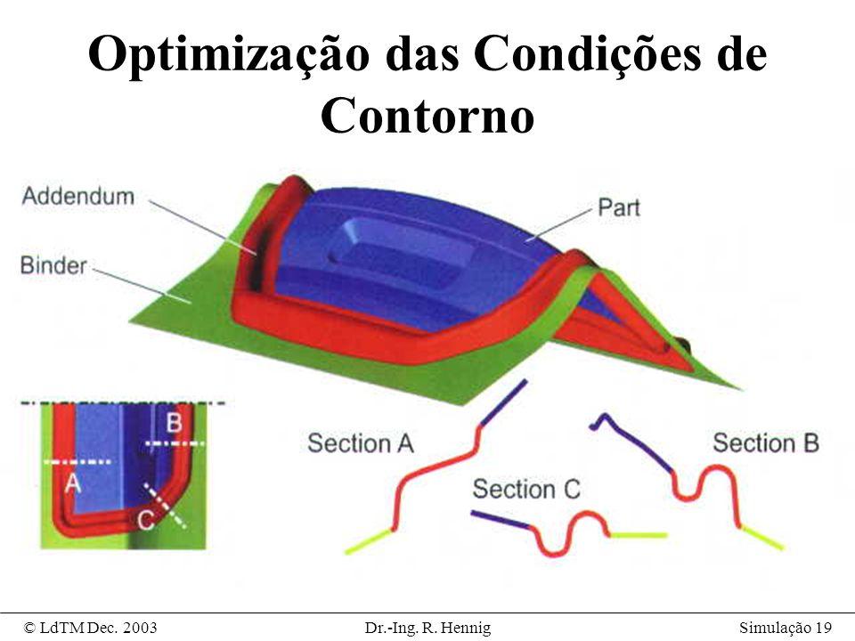 Simulação 19© LdTM Dec. 2003Dr.-Ing. R. Hennig Optimização das Condições de Contorno