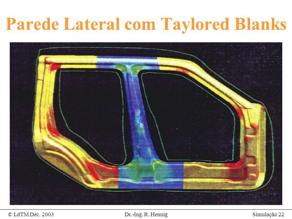 Simulação 22© LdTM Dec. 2003Dr.-Ing. R. Hennig Parede Lateral com Taylored Blanks