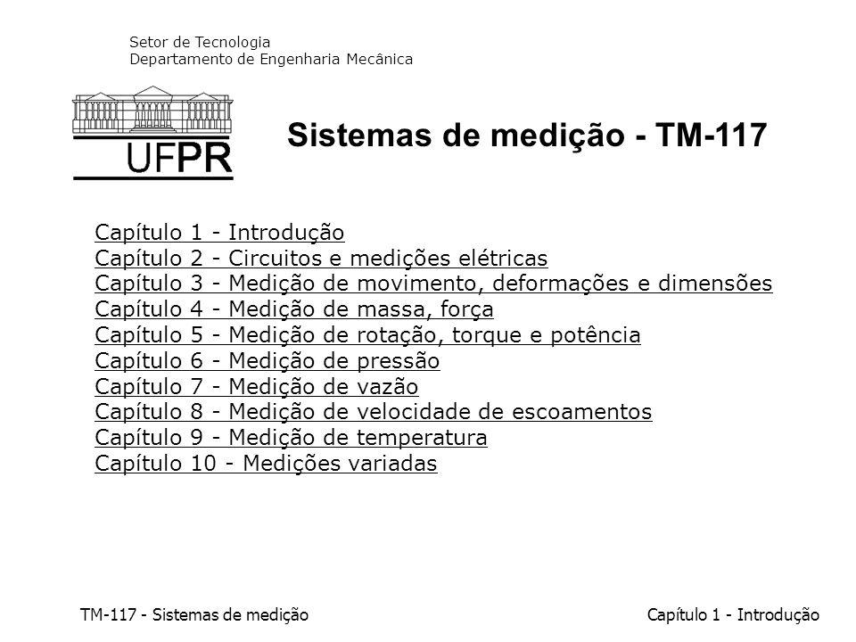 TM-117 - Sistemas de mediçãoCapítulo 1 - Introdução 1.1 - Objetivos da disciplina Aprofundar o conhecimento dos alunos nos diversos tipos de instrumentos de medida, enfocando seus princípios de funcionamento, aplicações e restrições, bem como seus elementos auxiliares tais como registradores e processadores de sinais.