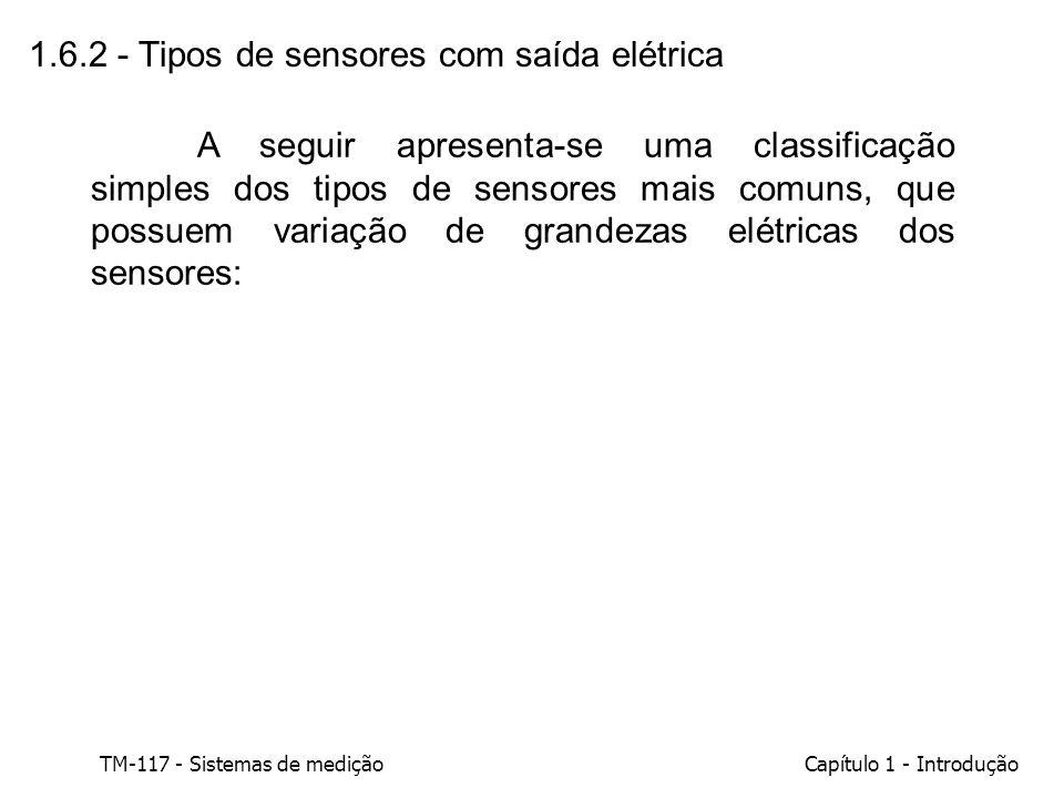 TM-117 - Sistemas de mediçãoCapítulo 1 - Introdução 1.6.2 - Tipos de sensores com saída elétrica A seguir apresenta-se uma classificação simples dos t