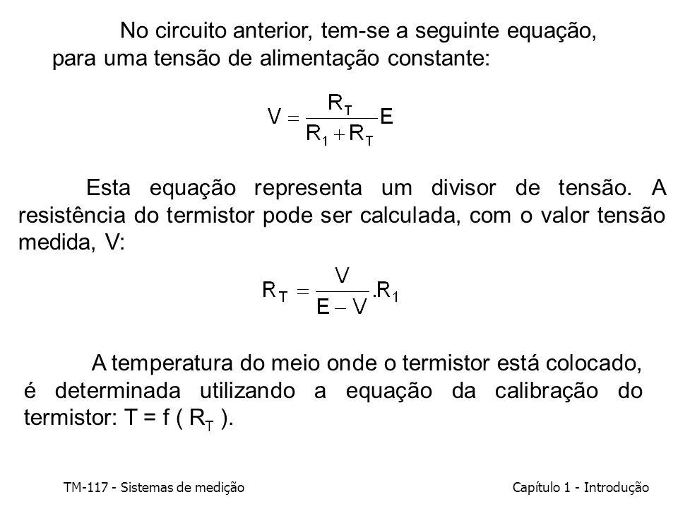 TM-117 - Sistemas de mediçãoCapítulo 1 - Introdução No circuito anterior, tem-se a seguinte equação, para uma tensão de alimentação constante: Esta eq