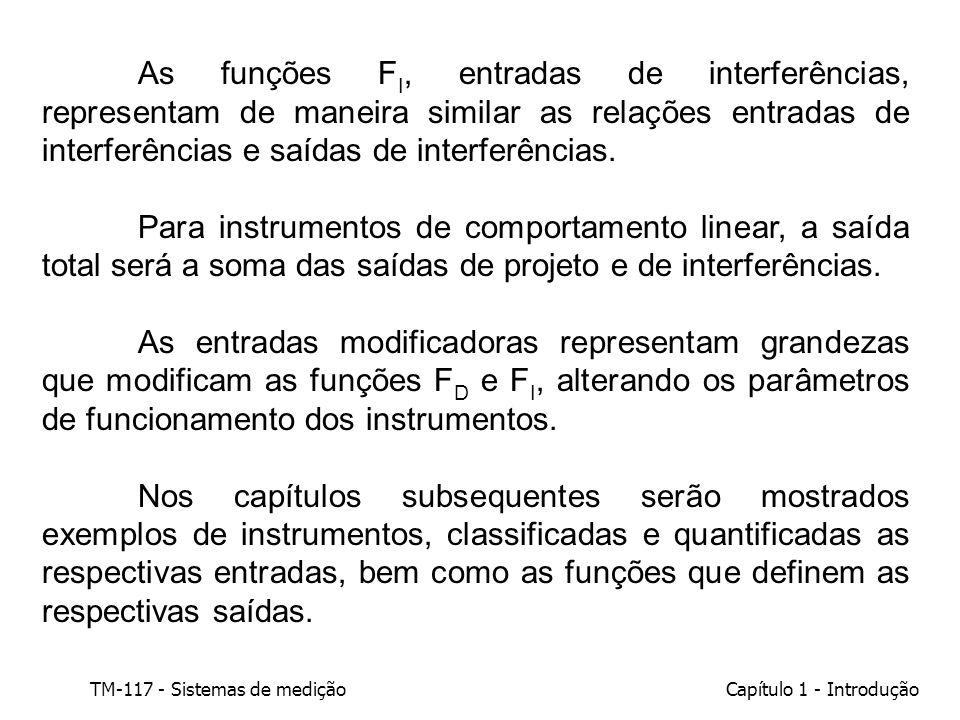 TM-117 - Sistemas de mediçãoCapítulo 1 - Introdução As funções F I, entradas de interferências, representam de maneira similar as relações entradas de