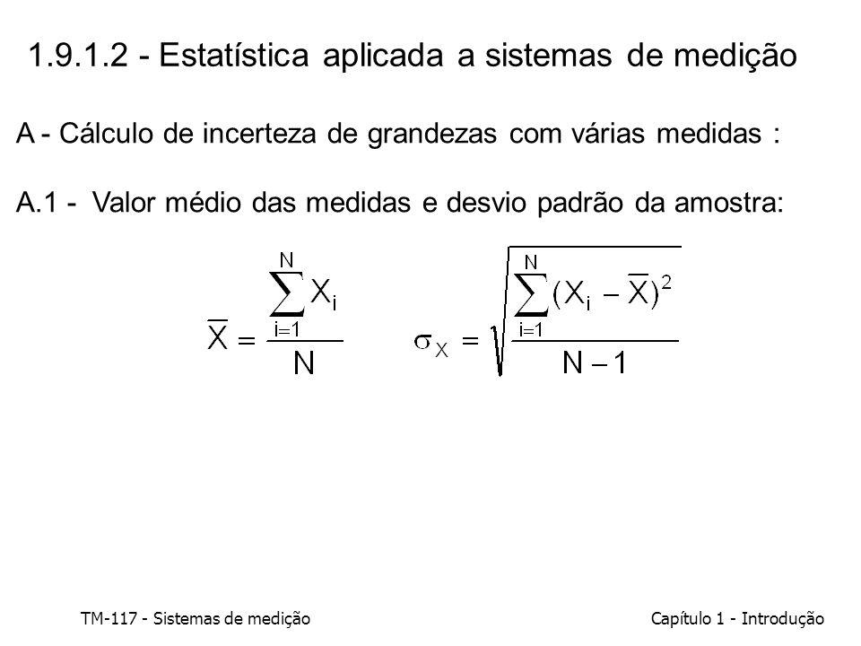 TM-117 - Sistemas de mediçãoCapítulo 1 - Introdução 1.9.1.2 - Estatística aplicada a sistemas de medição A - Cálculo de incerteza de grandezas com vár
