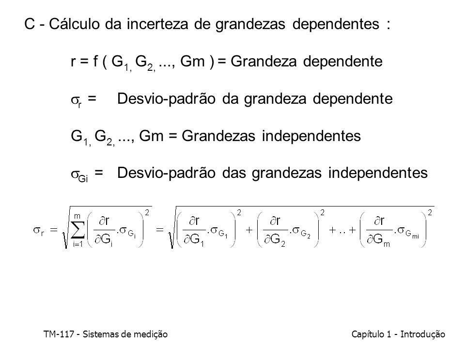 TM-117 - Sistemas de mediçãoCapítulo 1 - Introdução C - Cálculo da incerteza de grandezas dependentes : r = f ( G 1, G 2,..., Gm ) = Grandeza dependen